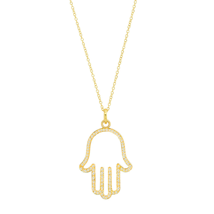 Diamond Large Hamsa Necklace