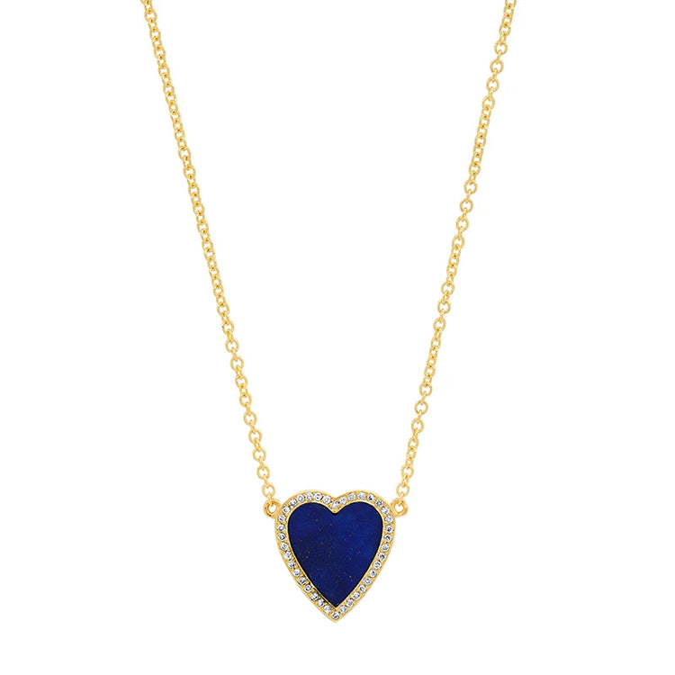 Mini Lapis Inlay Heart Necklace with Diamonds