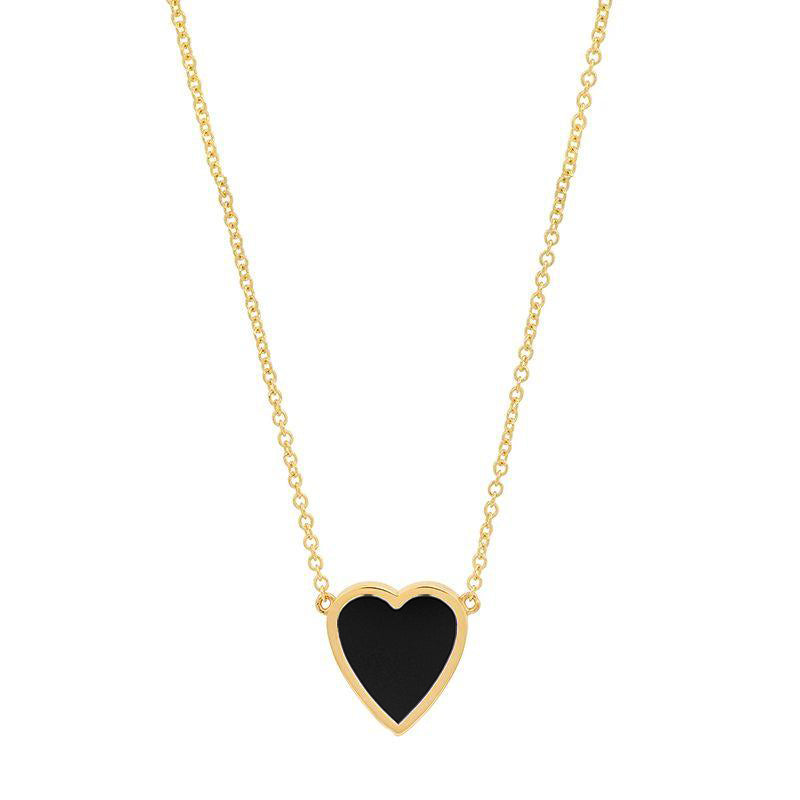 Mini Onyx Inlay Heart Necklace