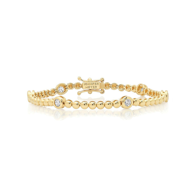 Mini Bezel Tennis Bracelet with Diamond Large Accent