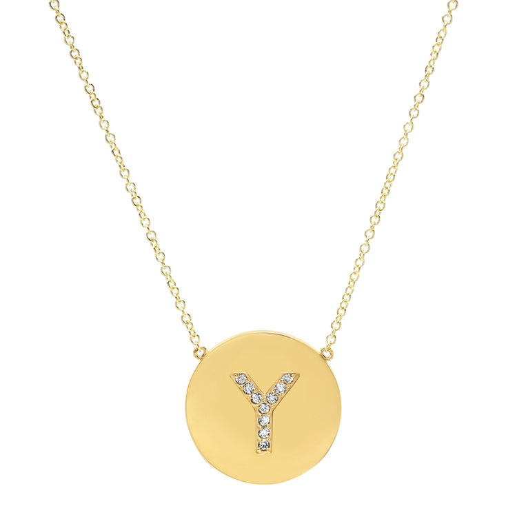 Diamond Letter Disc Necklace - Y