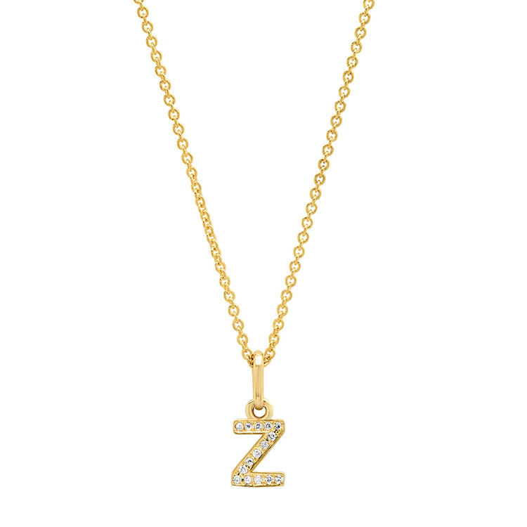Diamond Mini Uppercase Letter Necklace - Z