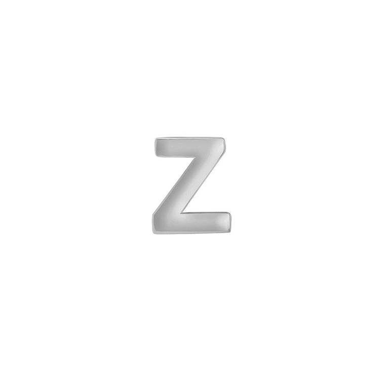 White Gold Mini Uppercase Letter Stud - Z