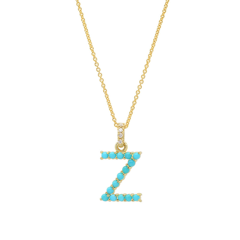 Turquoise Letter Necklace - Z