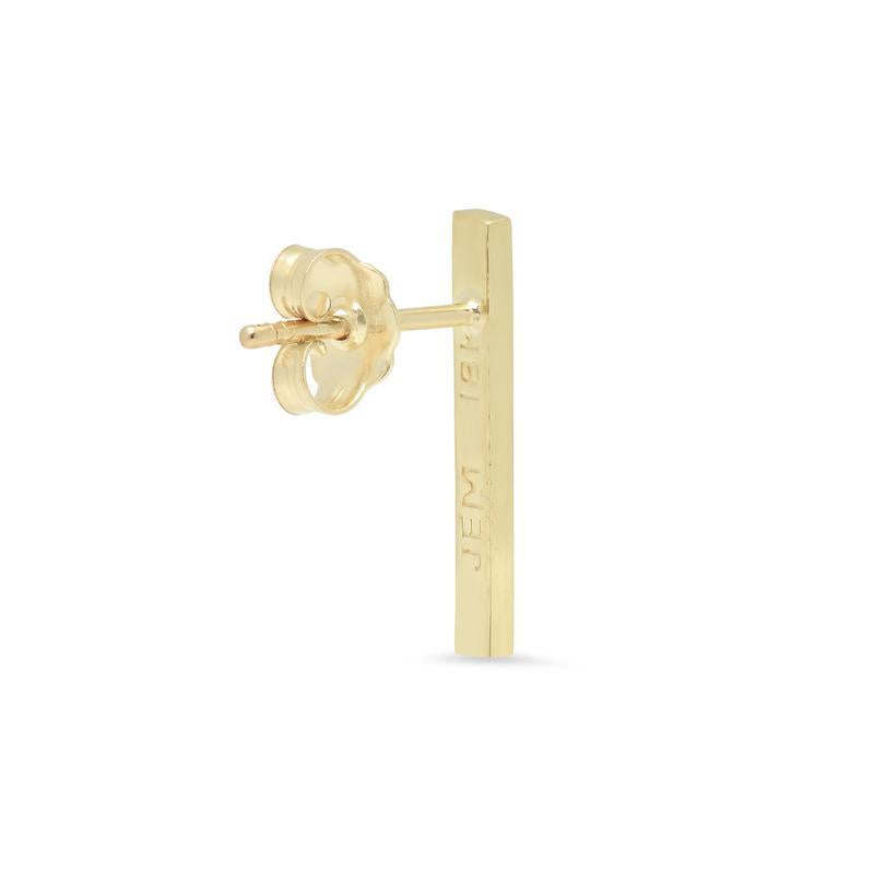 Single Yellow Gold Diamond Long Bar Stud