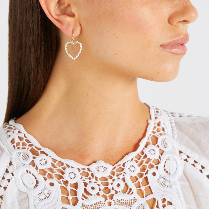 Diamond Large Open Heart Drop Earrings