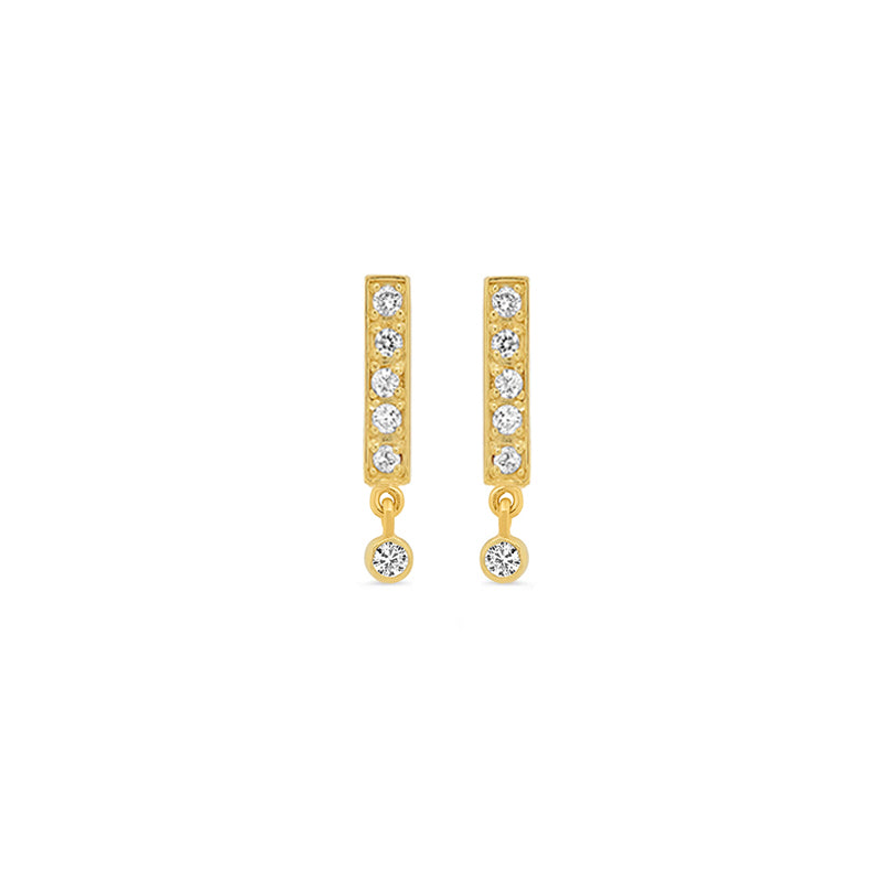 Diamond Bar Studs with Diamond Bezel Drop