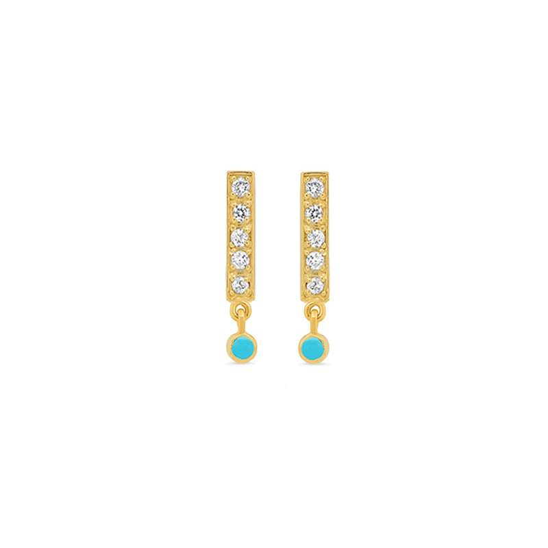 Diamond Bar Studs with Turquoise Bezel Drop