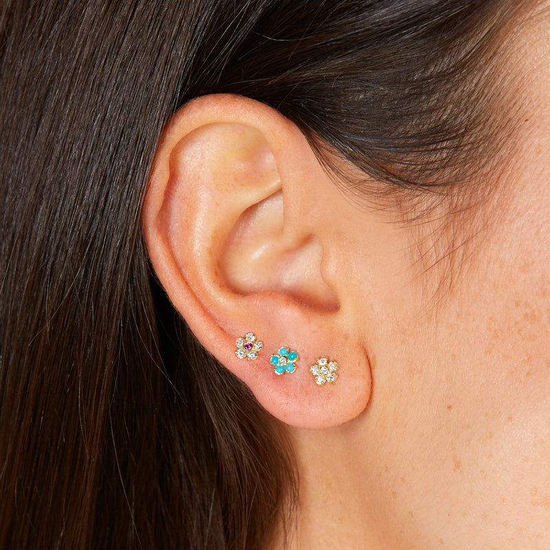 Single Turquoise Flower Stud with Diamond Center