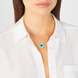 Turquoise Inlay Evil Eye Necklace with Diamonds