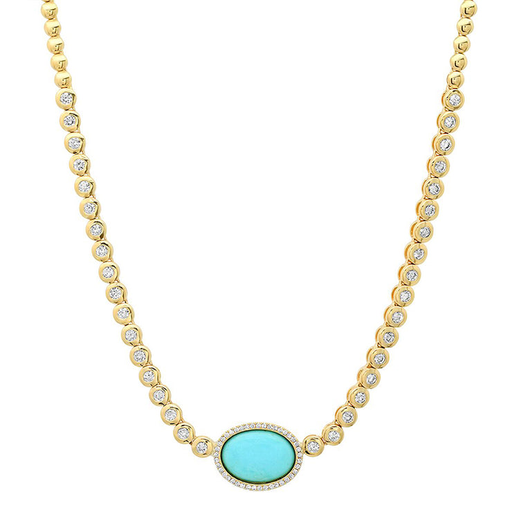 1/3 Diamond Mini Bezel Tennis Necklace with Turquoise Center