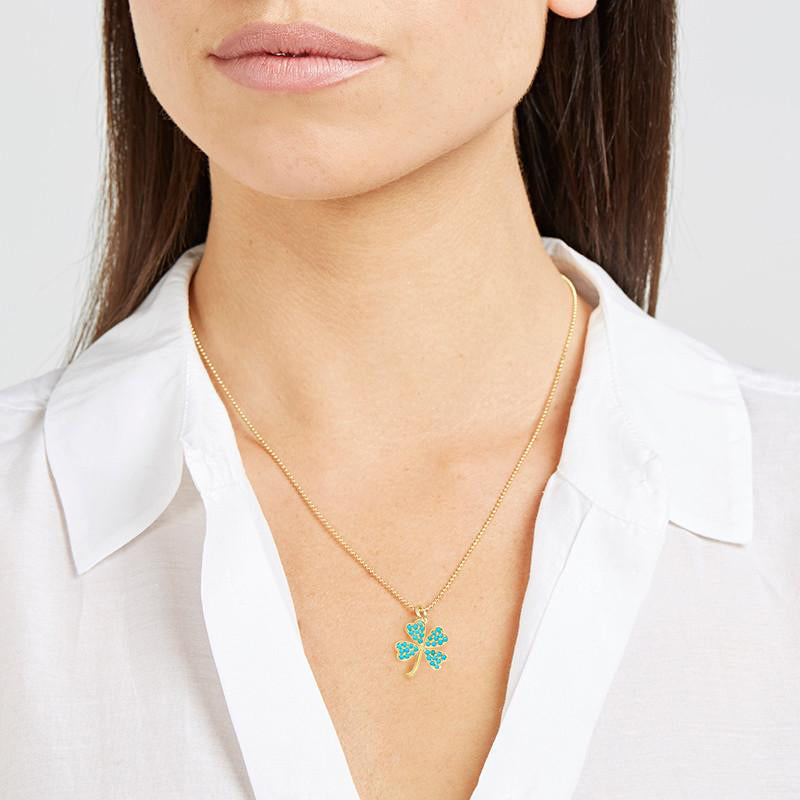 Large Turquoise Clover Necklace
