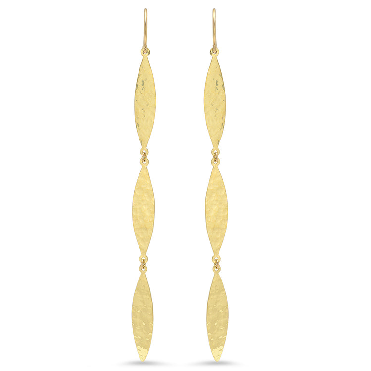 Hammered 3 Marquise Drop Earrings