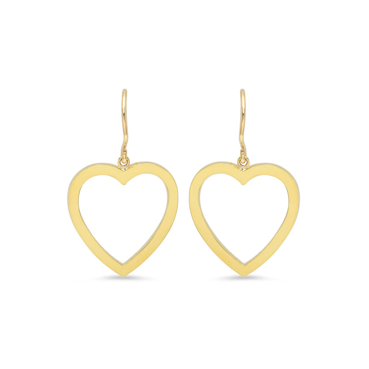 Large Open Heart Drop Earrings