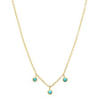 3 Turquoise Mini Bezel Dangle Necklace