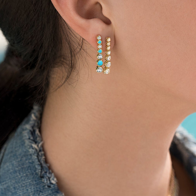 7 Small Graduated Diamond and Turquoise Tennis Studs