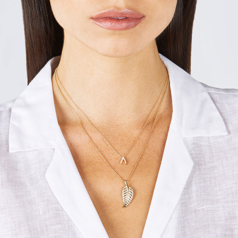 Diamond Mini Wishbone Necklace