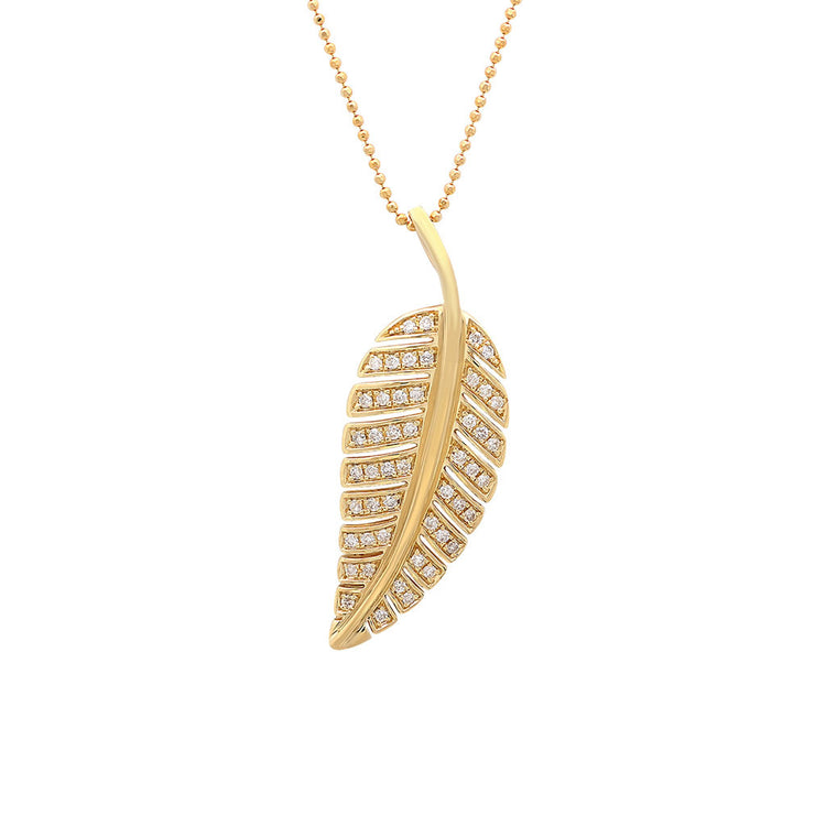 Large Diamond Leaf Necklace