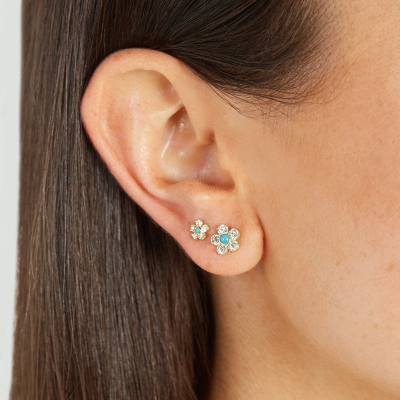 Single Diamond Flower Stud with Turquoise Center