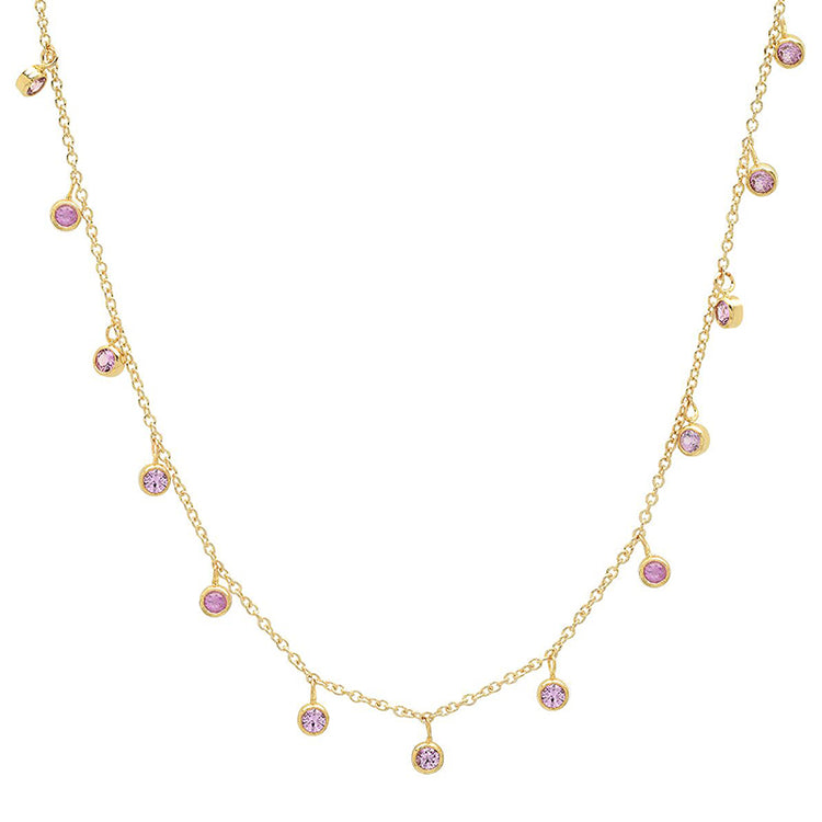 Mini Pink Sapphire Bezel Dangle By-The-Inch Necklace