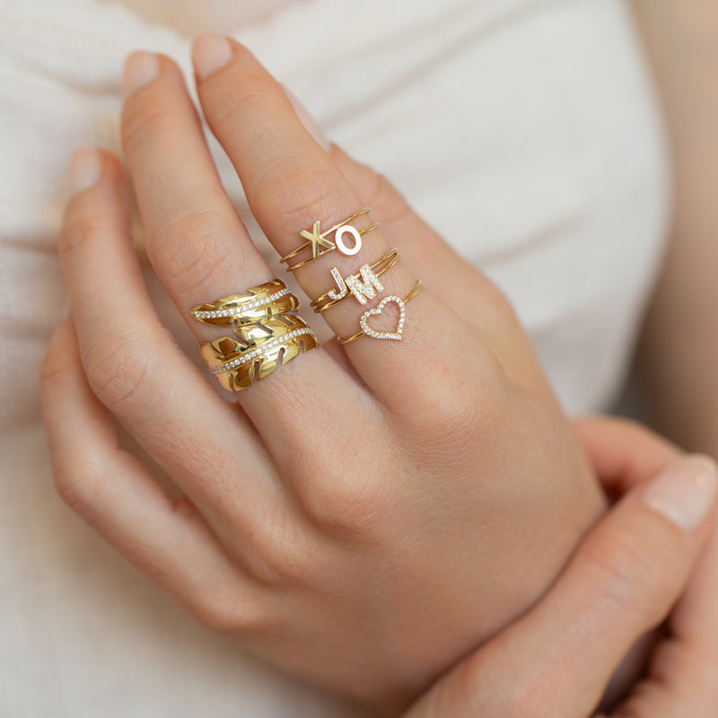 Mini Uppercase Letter Ring - V