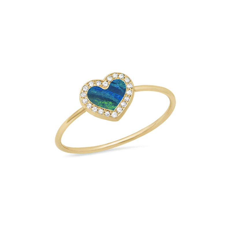Extra Small Opal Inlay Heart Ring with Diamonds