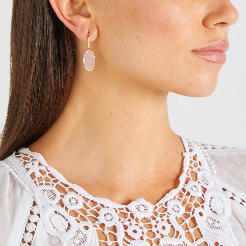 Pink Opal Inlay Oval Drop Earrings with Diamonds