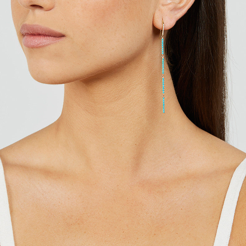 Turquoise 4 Mini Stick Drop Earrings
