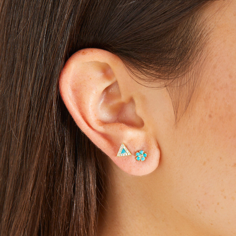 Turquoise Flower Studs with Diamond Center