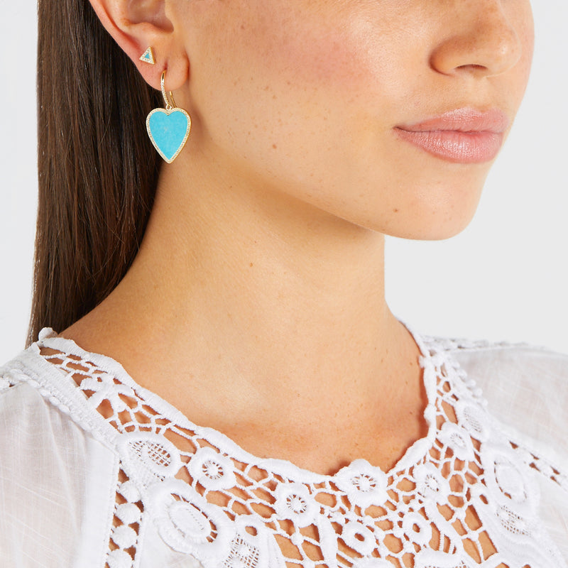 Turquoise Inlay Heart Drop Earrings with Diamonds
