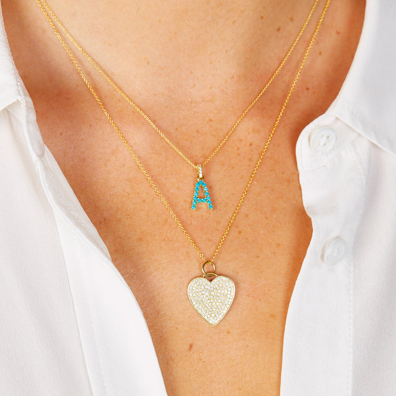 Turquoise Letter Necklace