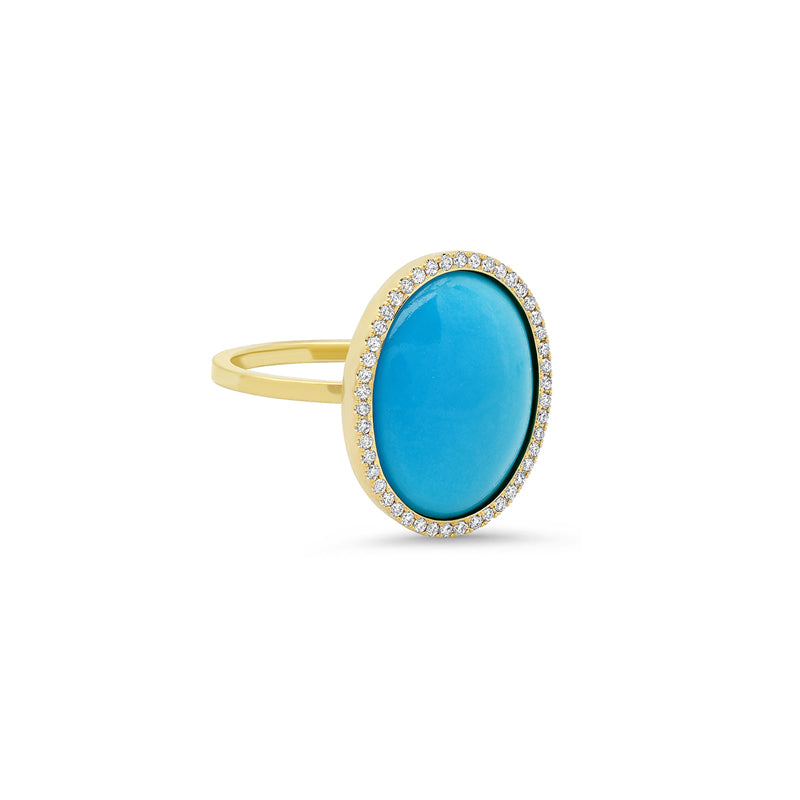 One-of-a-Kind Round Turquoise Cabochon Ring with Diamonds
