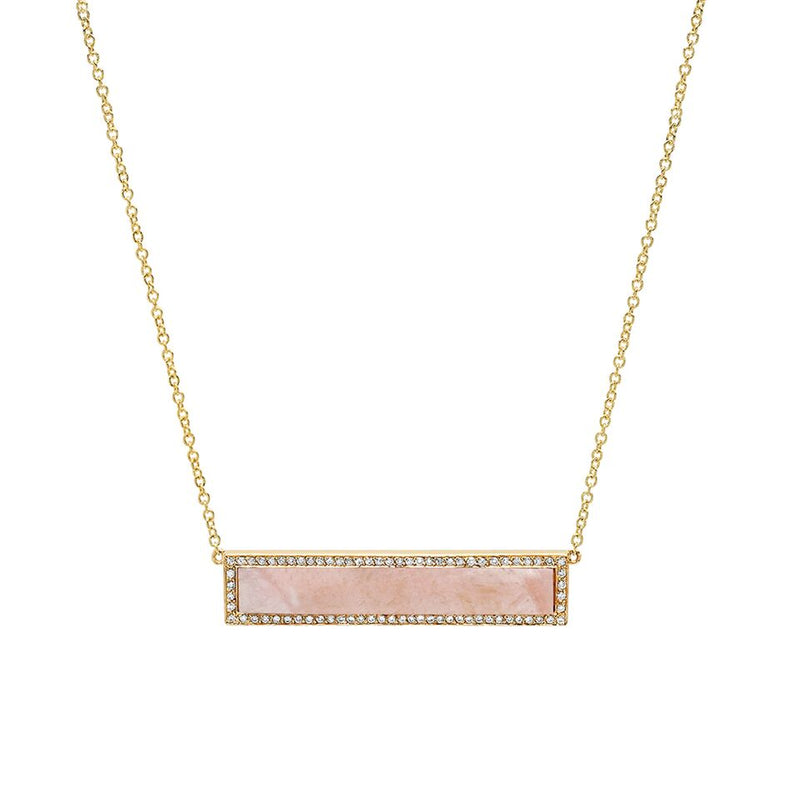 Pink Opal Inlay Bar Necklace with Diamonds