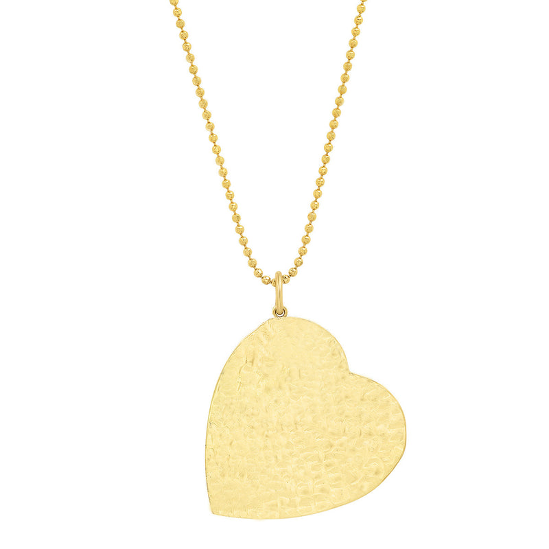 Large Hammered Heart Pendant Necklace