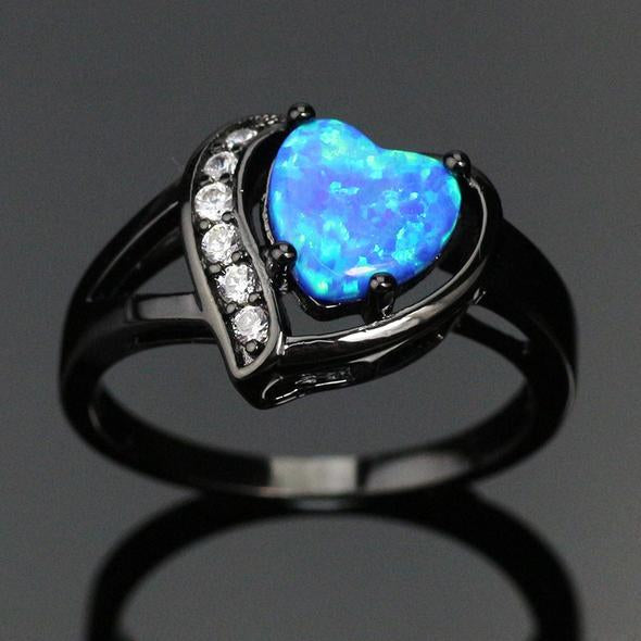 Beautiful Heart shaped Blue Opal Ring Filled with High Quality 14k Black Gold