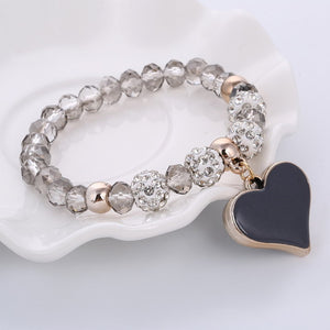 Crystal Butterful Bracelet & Bangle With Elastic Heart 100% HandMade