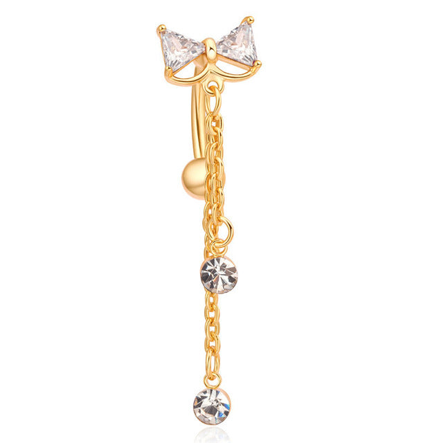 New Reverse Belly Button Ring Dangle Bowtie