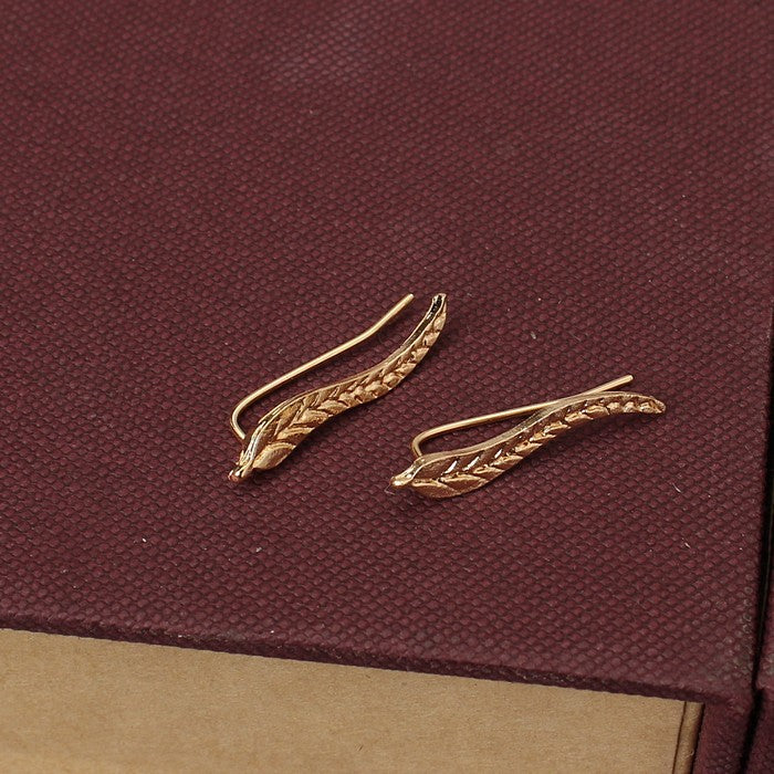 Exquisite Gold And Silver Leaf Shaped Earrings