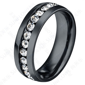 High Quality Titanium Elegant Finger Ring  with Full CZ Stones