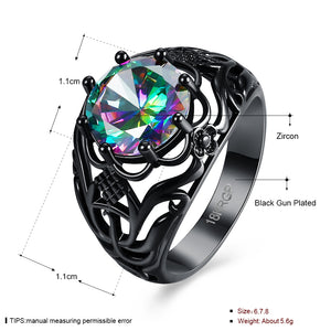 Flower  Fire Opal CZ Zircon Ring For Women With Black Gold Filled