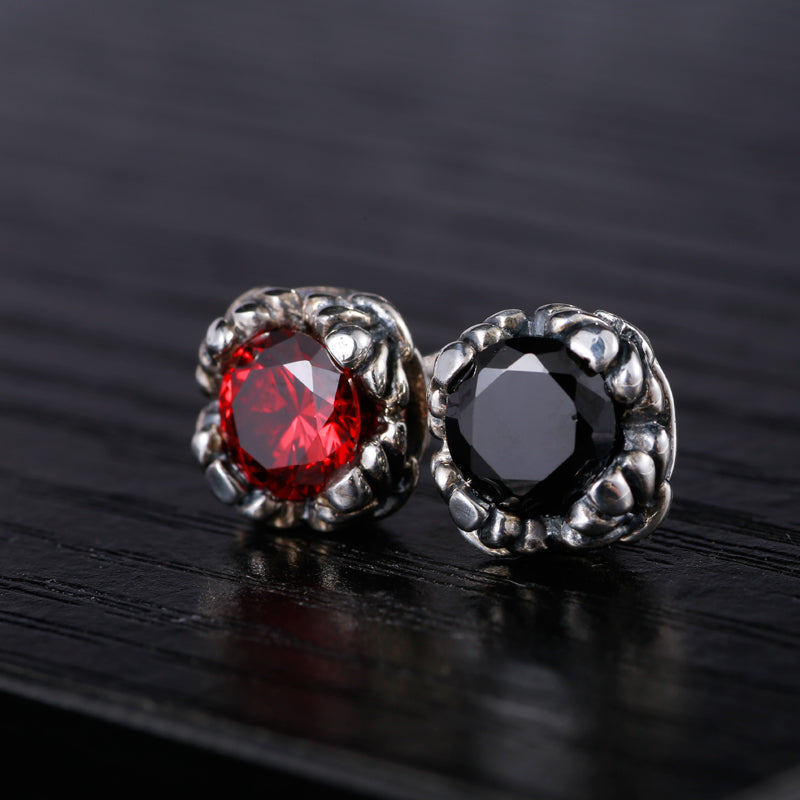 Rose Red and Black Stone Earrings for Men 100% Sterling Silver