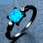 Blue Fire Opal Ring For Women Black Gold Filled Birthstone Jewelry