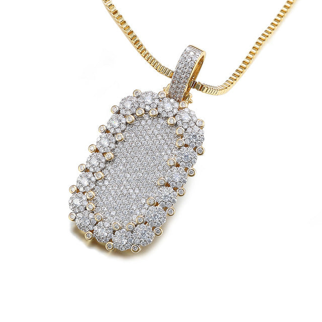 Full Paved 14k Platinum/Gold Plated CZ Square Trendy Style Pendant Necklace