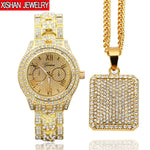 Mens LuxuryHip Hop Iced Out Watch & Iced Square Dog Tag Necklace Combo Set