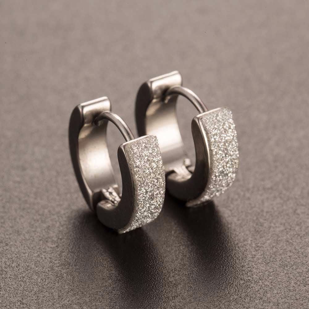Men's Stainless Steel Hoop Piercing Round crystal Earrings