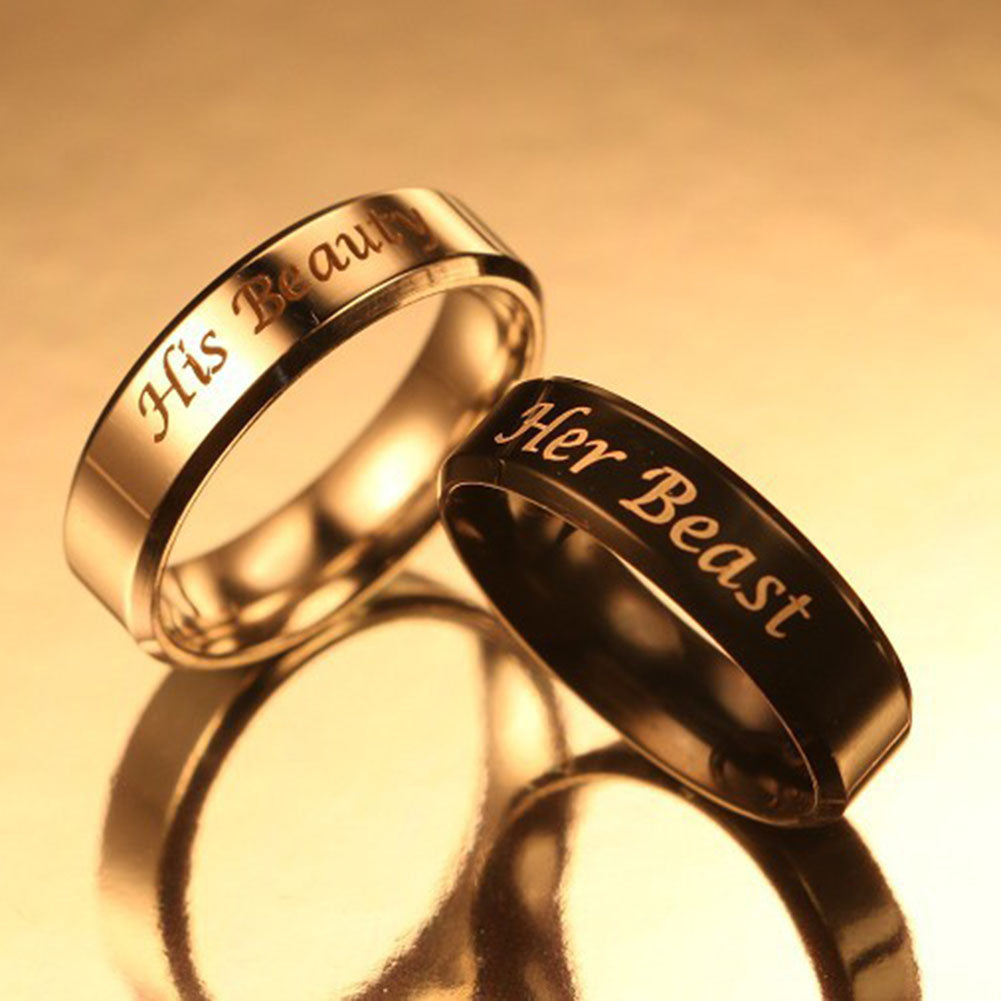 1pcs Titanium Couples Rings (His Beauty/Her Beast)