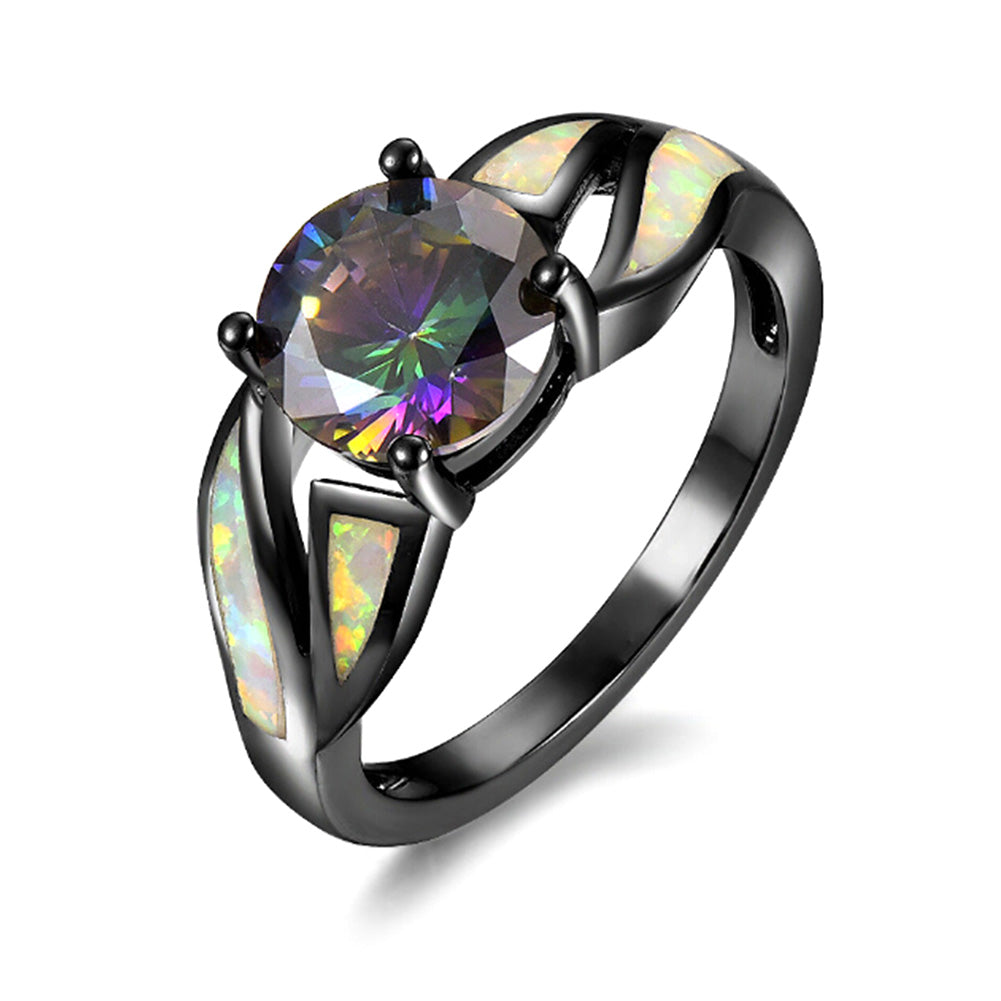 New Arrival Charming Rainbow White Fire Opal Ring Black Gold Filled