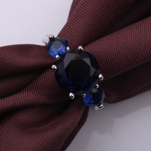 High-Fashion Three Round CZ Blue Color Fire Opal Rings Silver Filled