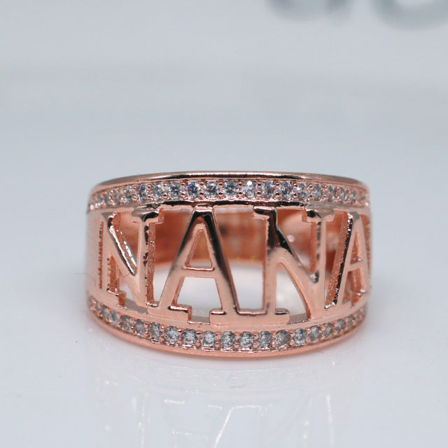 European Hot Sale Silver/Rose Gold Color Letter NANA Ring for Women