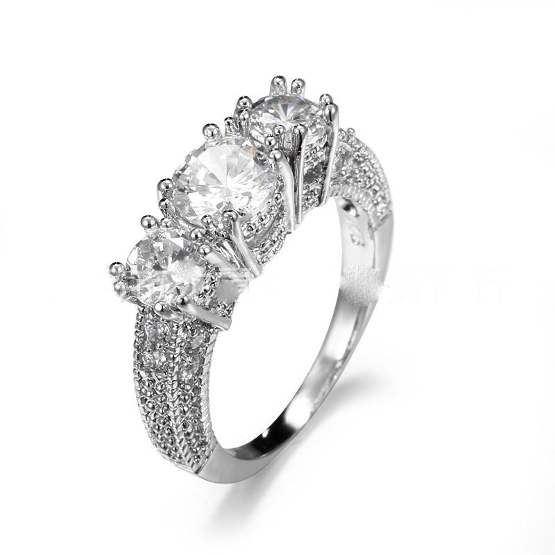 New high quality fashion women's three CT  white diamond zirconia ring